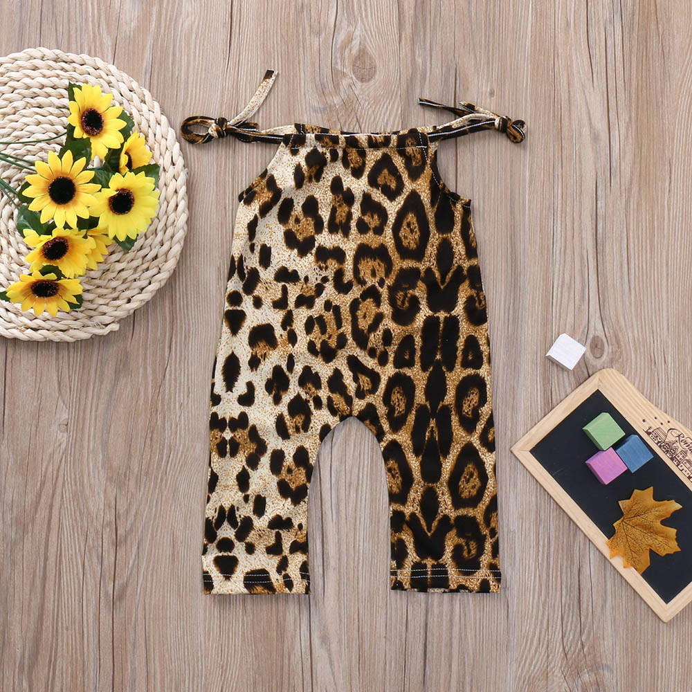 Fashion Baby Girl Summer Clothes Toddler Kids Baby Girls   Romper   Leopard Jumpsuit Trousers Summer Clothes 12M-3T sleeveless body