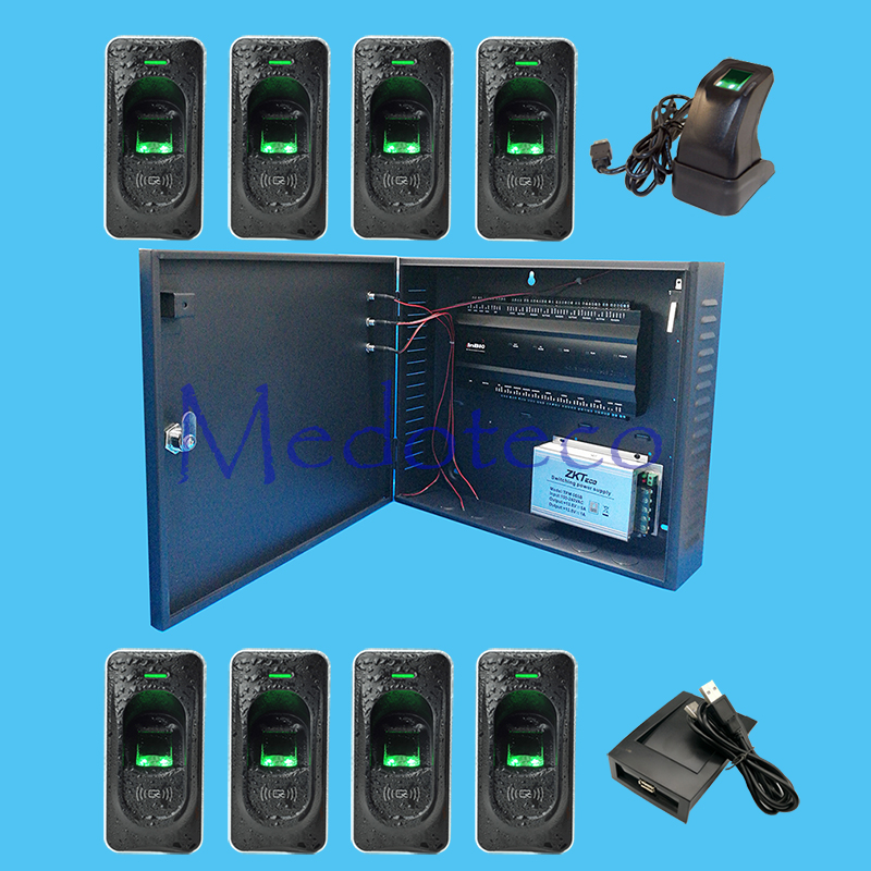 Inbio460 fingeprint & card access control panel Four Door Access Access System+12V5A battery function power supply+FR1200 Reader  inbio460 fingeprint and card access control panel tcp ip communication use rs485 connect with fr1200