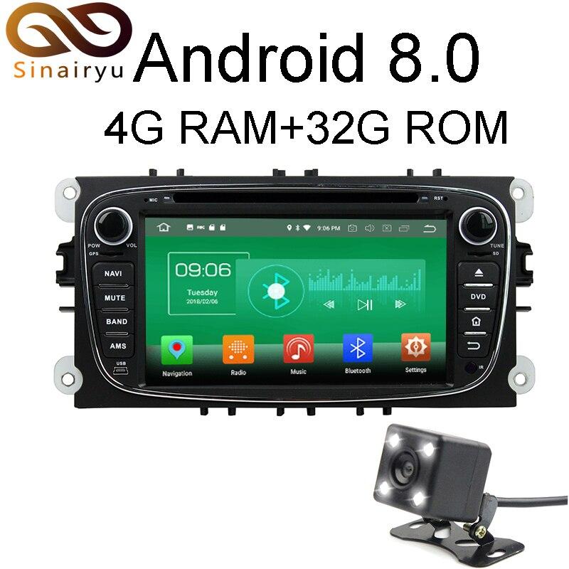Sinairyu 4 г Оперативная память Android 8.0 автомобильный DVD для Ford Focus 2008 2009 2010 Черный Octa core 32 г Встроенная память радио GPS плеер головное устройство