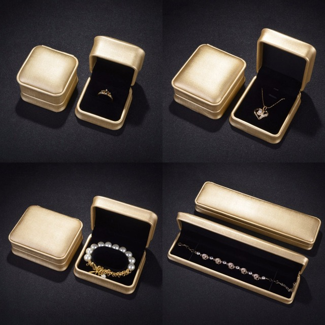 Caixa de Jóias Colar Pulseira Anel JAVRIVK Presentes Pingente De Exibição de Couro Do Falso Caso de Casamento