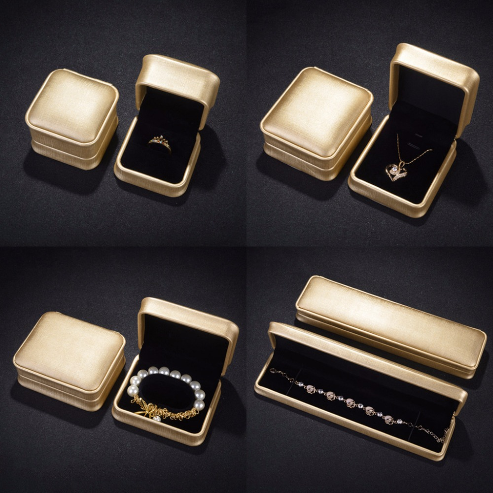 JAVRIVK Jewelry Box Ring Bangle Necklace Pendant Gifts Faux Leather Display Case Wedding