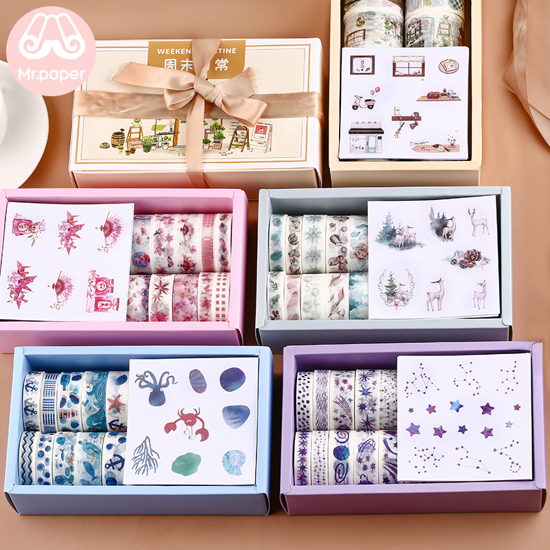 Mr Paper 16+8pcs Gift Package Sticker Washi Tape Set Kawaii Ocean Star Forest Sakura Dessert Stickers Scrapbooking Masking Tapes title=