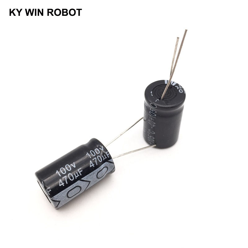 5pcs/lot Aluminum Electrolytic Capacitor 100V/470 UF 100V/470UF Electrolytic Capacitor Size 16*25 Mm Plug-in 100V 470UF
