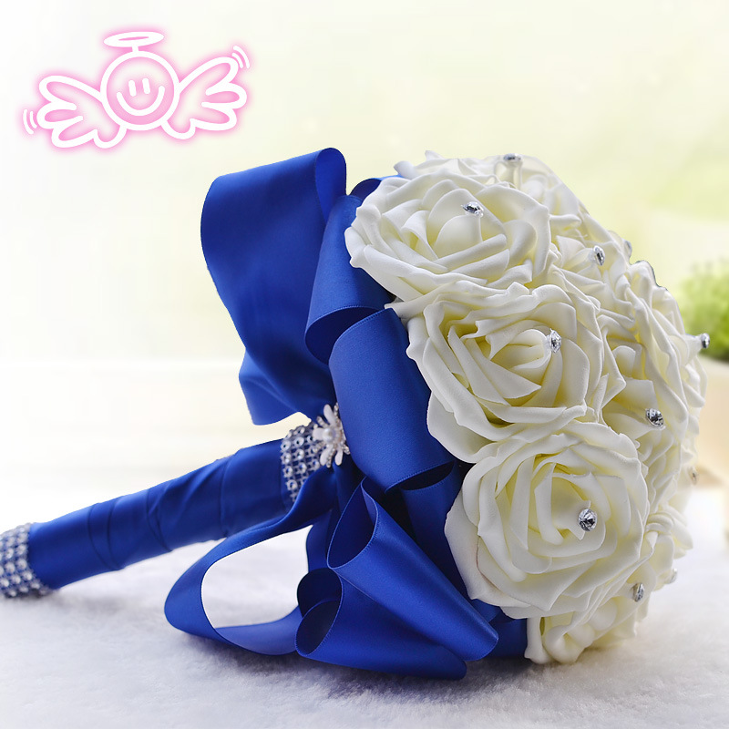Cheap royal blue ribbon artifical crystal bride flower bouquet buque cheap royal blue ribbon artifical crystal bride flower bouquet buque de casamento 2017 new arrival wedding accessory bouquets in wedding bouquets from mightylinksfo