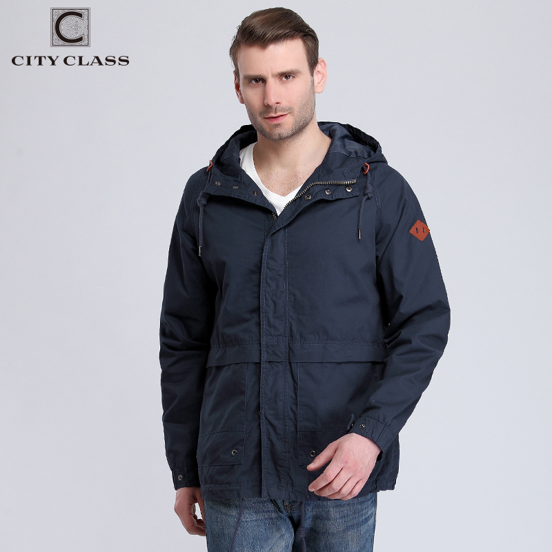 CITY CLASS 2017 Mens 100% Washed Cotton Windbreakers Casual Loose Multi-colors Hooded Jackets and Coats with Drawstring 3803
