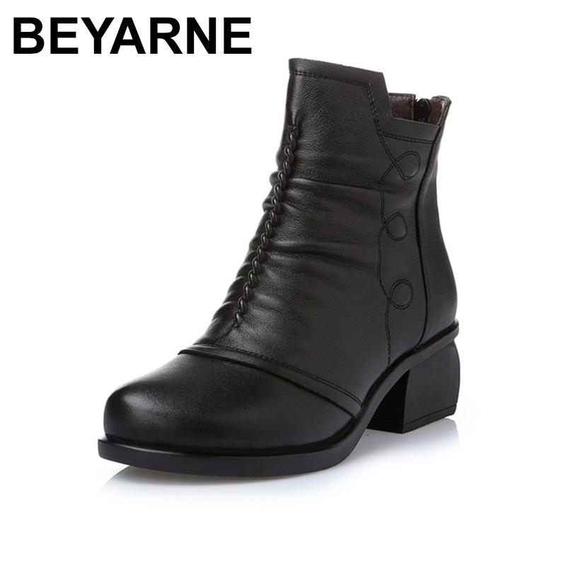 BEYARNE New Arrivals Autumn Winter Women Ankle Boots Genuine Leather Short Booties Large Size Boots Women