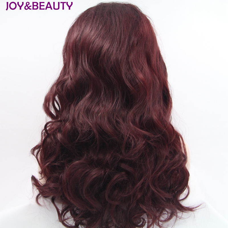 JOY&BEAUTY Burgundy Long Wavy Glueless Synthetic Lace Front Wig Heat Resistant Hair Fluffy Full Femmle Party Wigs 24inch