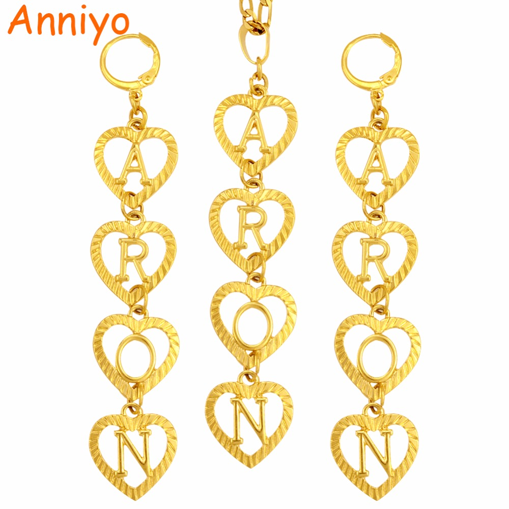 Anniyo DIY Letter Initial Customise Name Necklace & Earrings for Women(Hanging 4 letters,Tell me what name do you want) #104606 tell me what