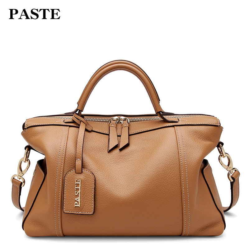 f8691bb0a55d 2018 Genuine Leather Bags for Women Brand PASTE Designer Handbags High  Quality Cowhide Female Tote Bags Large 7P1116MP-in Shoulder Bags from  Luggage   Bags ...