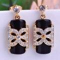 Fine Jewelry Black Flower Mask Dangle Earrings Gold Plated Brooch Corsage Women Party Earring Punk Style Brinco Women's Day Gift
