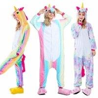 Wholesale Rainbow Unicorn Kigurumi Stitch Unisex Flannel Hoodie Pajamas Costume Cosplay Animal Onesies Sleepwear Women Adults