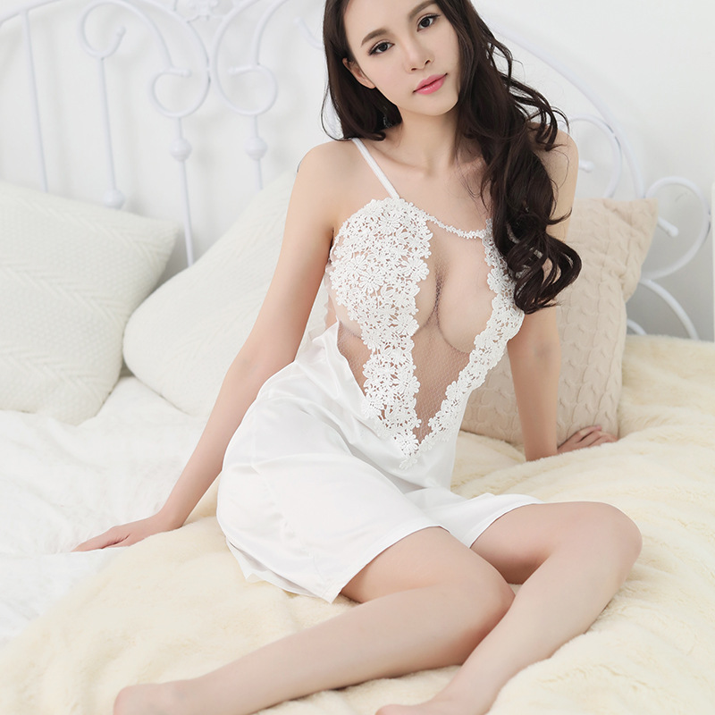 Sexy Ever Store 2019 Newest Women Satin Silk Lace Lingerie Ladies Satin Nightgown Sleepwear in Babydolls Chemises from Novelty Special Use