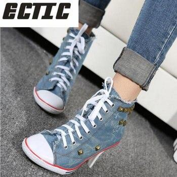 ECTIC 2018 Новая мода Для женщин джинсовая парусиновая обувь Обувь на высоком каблуке обувь с заклепками модная обувь Обувь на высоком каблуке у...