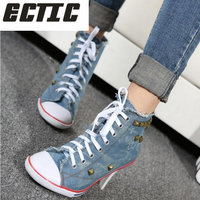 ECTIC 2018 New fashion Women canvas shoes denim high heels rivets shoes fashion shoes high heels Comfortable Ladies luxury YA 33
