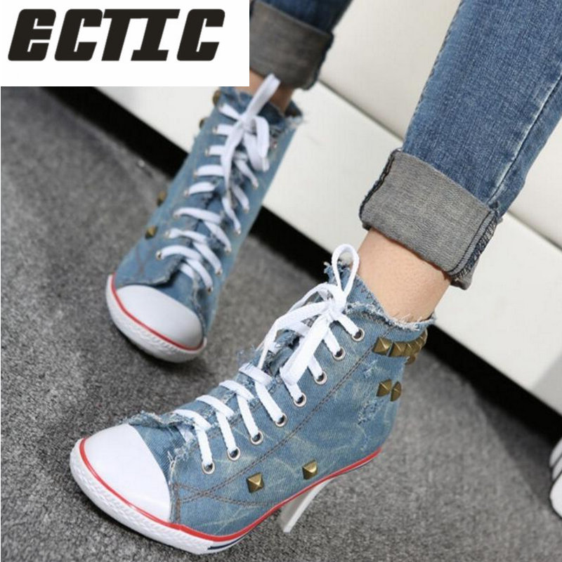 ECTIC 2018 New fashion Women canvas shoes denim high heels r