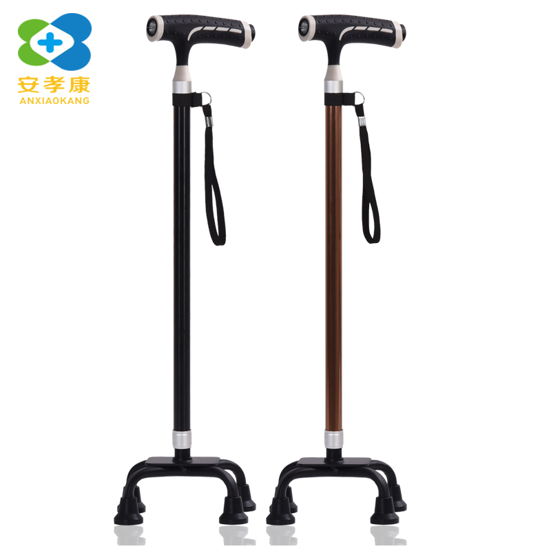 Camping & Hiking Brave Anxiaokang Safe&reliable Crutches Lighted Four-legged Cane Telescopic Old Man Walking Stick Pole Walking And Hiking For Elderly Sturdy Construction
