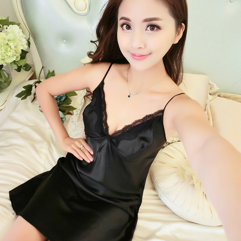 Silk Lace Women Sleepwear Ladies Sexy Lingerie Sleepdress Babydoll Nightdress   Nightgown     Sleepshirts   Homewear