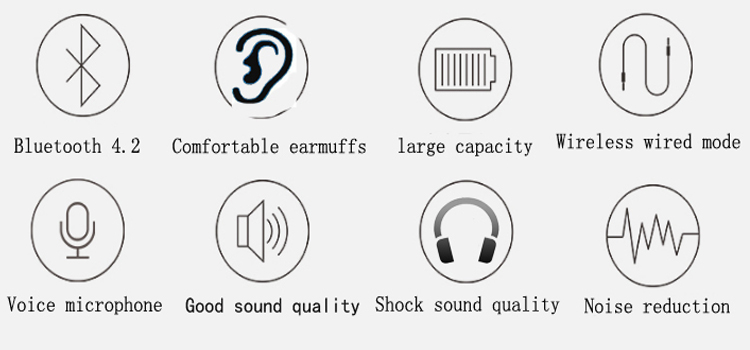 Hisonic Bluetooth Headset Wireless Headphones Stereo Sport Earphone Microphone Gaming Cordless Auriculares Audifonos 8