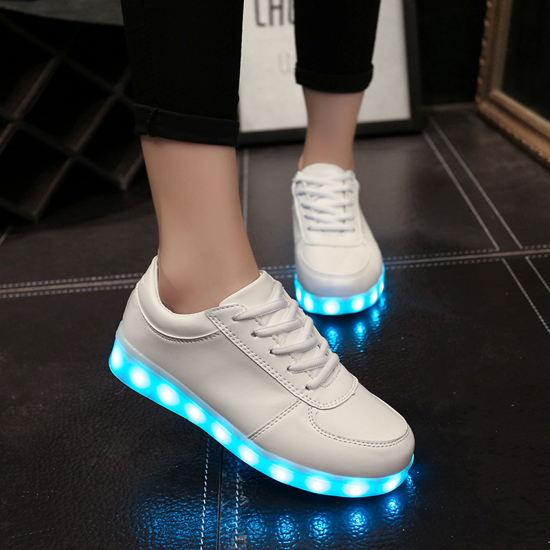 2018 Women led shoes Luminous For Light Up Shoe casual Adults 7 Colors  Charging Glowing Black Plus Size 35 44 Zapatos Mujer-in Women s Flats from  Shoes on ... c9173b83e