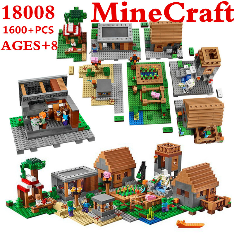 1600+Pcs Model Building Kits Compatible With Lepin My World MineCraft Village Blocks Educational Toys Hobbies For Children 10531 lepin 02012 city deepwater exploration vessel 60095 building blocks policeman toys children compatible with lego gift kid sets