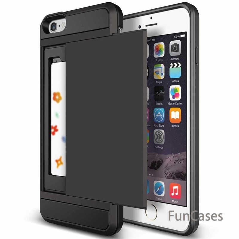 Nuevo híbrido duro Capa caso para iphone 5 5S SE 6 6 S 7 8 Plus Slider tarjeta titular de la cartera de la armadura cubierta trasera del teléfono para iphone X XS Max