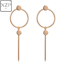 XZP Korean Version of the Simple Long Tassel Pendant Size Circle Earrings Female Meal Jewelry accessories