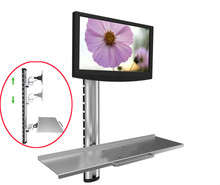 купить WS06 Gas Spring Aluminum Full Motion single Dual Screen Wall Mount Workstation PS Stand Monitor Holder With Keyboard онлайн