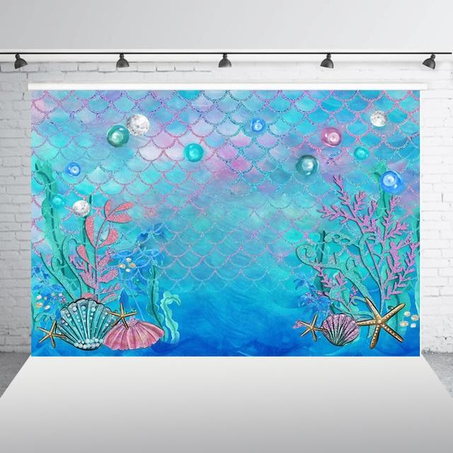 Photography Backdrop Mermaid Scales Glare Birthday Banner Photo Studio Booth Background Newborn Baby Shower Photocall W-597
