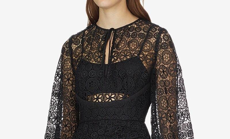 Robe Noir Évider Floral Robes Younggee 2019 Designer Cercle Femmes Printemps Automne Piste Mini Partie Élégante Dentelle 8kNXwOn0P