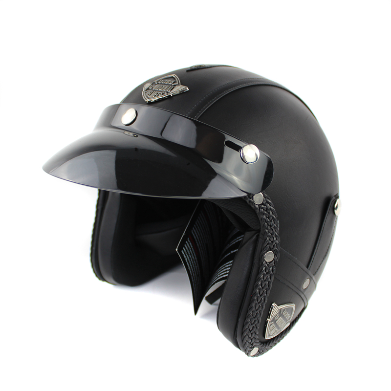 Black Adult Open Face Scooter Helmet For Adults 3/4 Motorcycle Helmet Harley motorcycle moto WH BLK