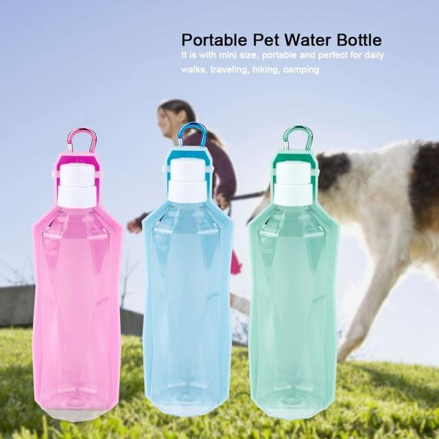 500ML Portable Water Bottle Feeder Pet Dog Doggy Outdoor Travel Water Bottle with Bowl Holder Drinking Feeding Tools