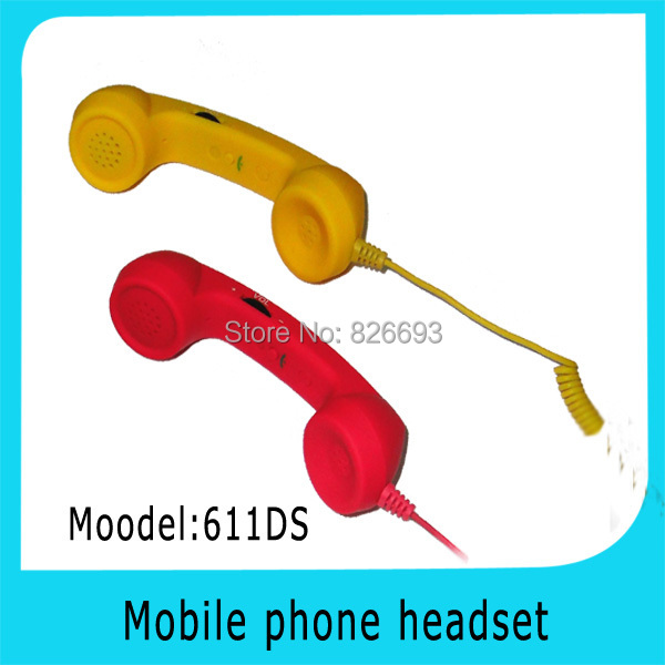 611DS Free Shipping! mini pop retro volume control anti-radiation mobile phone handset headset