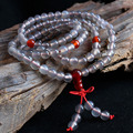 Rosary Bracelet Natural Gray Agate Beaded Stretch Cord Natural Layered Tibetan Jewelry Buddhist Agate 108 Beads Mala Bracelet