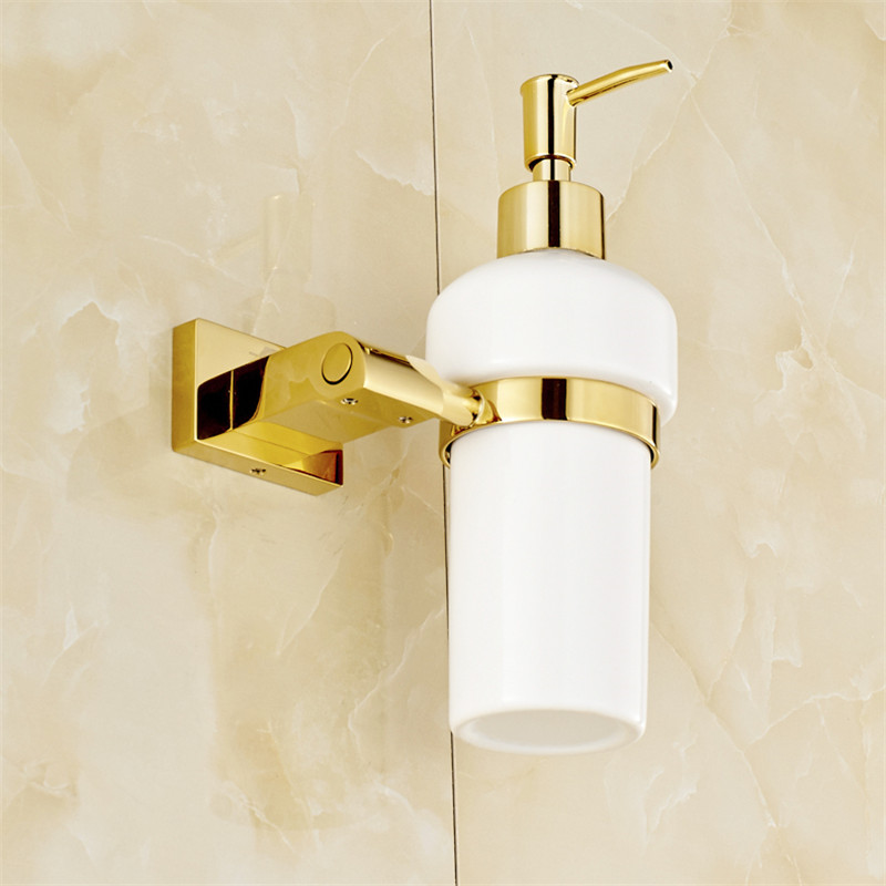 Liquid Soap Dispensers Luxury Gold Color Soap Dispenser Wall Mounted With Frosted Glass Container bottle Bathroom Products-in Liquid Soap Dispensers from Home Improvement    3