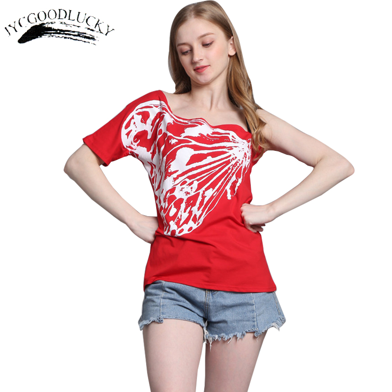 Butterfly Printing T shirts Women One Spaghetti Strap Unique Female T-shirt Harajuku 2017 New Arrival Off Shoulder Tops Women