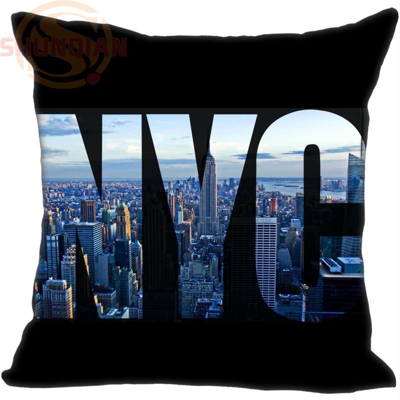 Hot Sale Manhattan New York &d Pillowcase 35x35cm 40x40cm  (One Side) Pillow Case Cotton Pillow Cover Drop Shipping