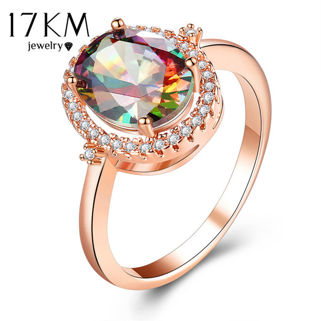 17KM Big Round Crystal Wedding Engagement Rings For Women Female Fashion Rose Go
