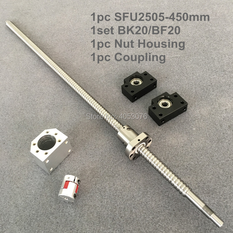 Ballscrew set SFU / RM 2505 450mm with end machined+ 2505 Ballnut + BK/BF20 end support +Nut Housing+Coupling for cnc partsBallscrew set SFU / RM 2505 450mm with end machined+ 2505 Ballnut + BK/BF20 end support +Nut Housing+Coupling for cnc parts