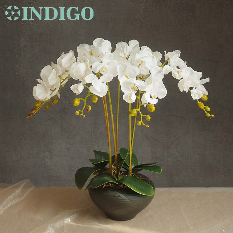 9pcs/Set Flower Arrangment Orchids With Leaves Real Touch Flower Table Wedding Party Fake Flower Decorative Event Free Shipping