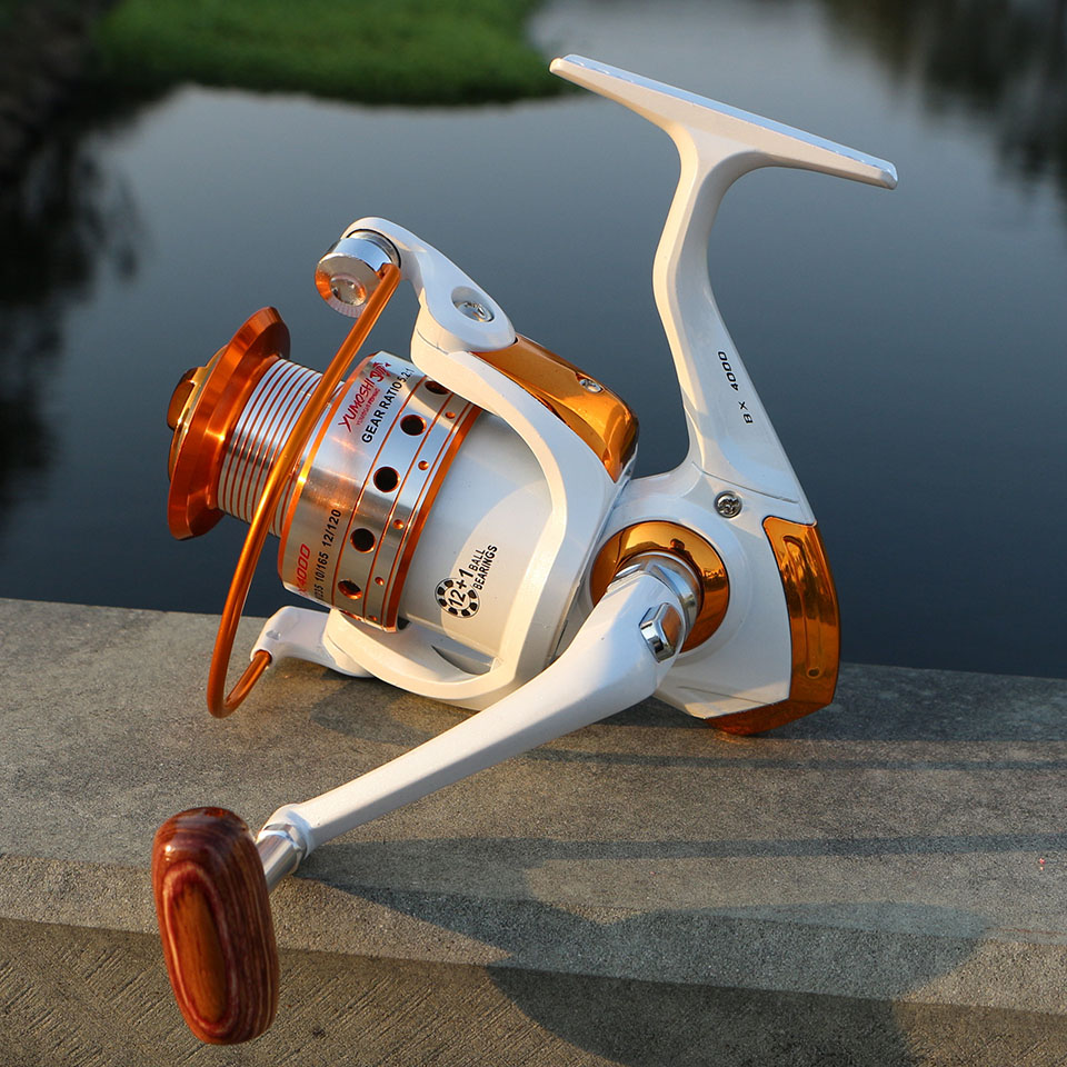 Spinning Fishing Reel 12BB + 1 Bearing Balls 500-9000 Series Metal Coil Spinning Reel Boat Rock Fishing Wheel 6