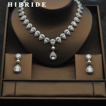 HIBRIDE Luxury 5 Colors Water Drop CZ Stone Tassel Necklace Sets Women Bridal Dubai Jewelry Set Wedding Gifts For Female N-274