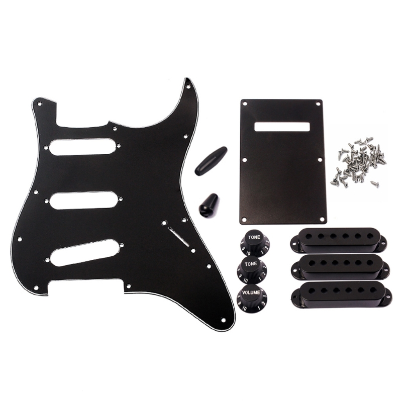 1 Set 8 Hole SSS Guitar Pickguard Strat Back Plate Pickup Cover Knobs Tips Accessories standard sg special guitar full face pickguard w p90 pickup hole white pearl