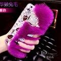 Genuína pele de coelho rex cabelo fox diamante Coque Funda Capa HTC Desire olho 628 530 630 816 826 820 626 620 728 A9 E9 X9 Carcasa