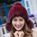 New Fashion Winter Fur Cap Mink Fur Earmuffs Elastic Cap Paisley Hats With Three Pompoms MZ003