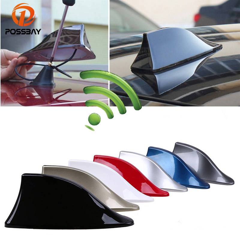 POSSBAY Car Signal Aerials Shark Fin Antenna for Polo Ford Nissan FM Signal Roof AM Signal Radio Aerials Roof Antennas possbay car shark fin antenna roof radio fm am aerials auto antennas for bmw renault kia vw aerial car styling roof decoration