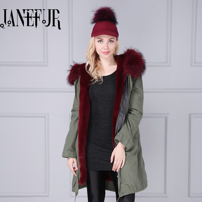 Plus size 12 colors 2017 new winter parkas Army coat jacket big real raccoon fur collar thick faux fur lining Slim Female woman faux rabbit fur brown mr short jacket sleeveless with big raccoon collar fall coat