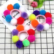 1 шт., яркие длинные волосы, шарики, эластичные резинки для волос для девочек, повязка на голову с бантом ручной работы, резинки для волос, Детские аксессуары для волос для женщин