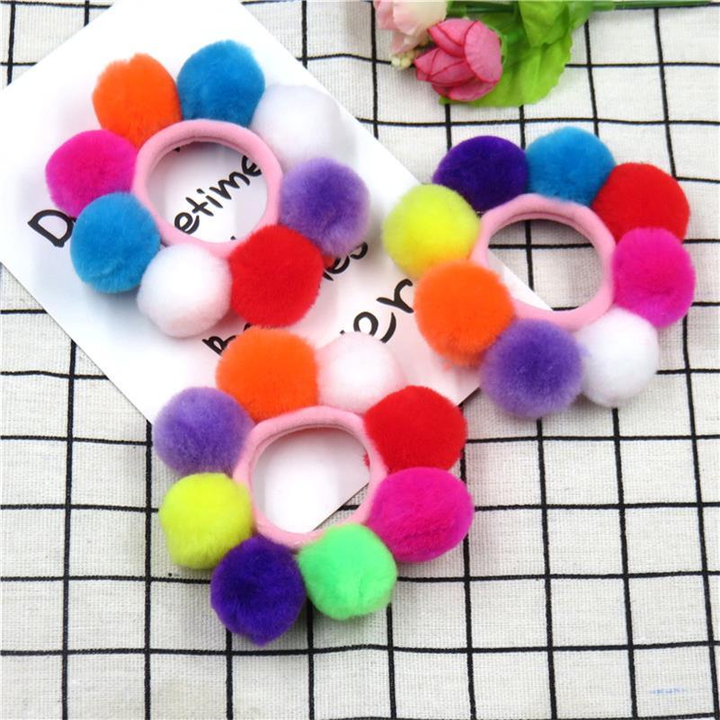 1PCS Candy Full Long Hair Balls Elastic Hair Bands For Girls Handmade Bow Headband Scrunchy Kids Hair Accessories For Women 2018