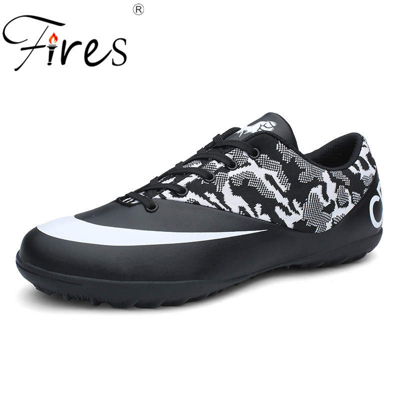 Fires Men Sport Shoes PU Leather Soccer Shoes Breathable Wearable Soles Trainning Sneakers Male Pattern Football Shoes Zapatoas