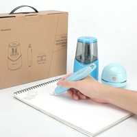 Tenwin Kawaii Electric Pencil Sharpeners Erasers Vacuum Cleaner Stationery Set For Kids Painting Drawing Office School Supplies